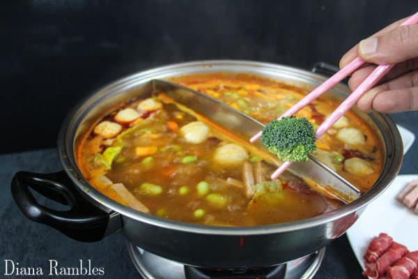 add vegetables to hot pot