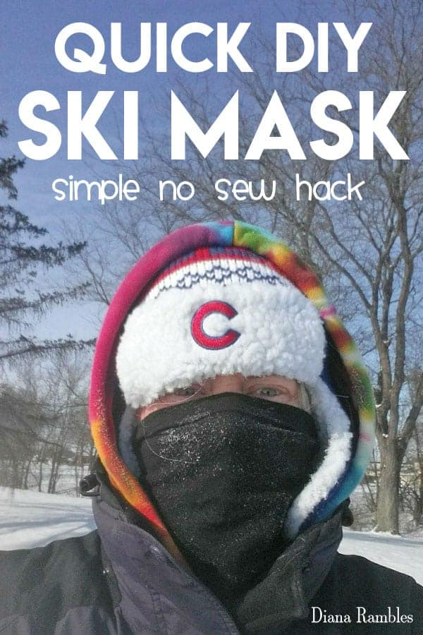 Instant DIY Ski Mask Tutorial - No Skills Needed! Make your own DIY Ski Mask to protect your face from cold air. This simple no-sew tutorial takes about a minute to make with supplies you have on hand. Don't go outside without protecting your skin with this face mask and Lubriderm!