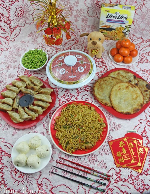 Chinese New Year Feast with many Asian foods
