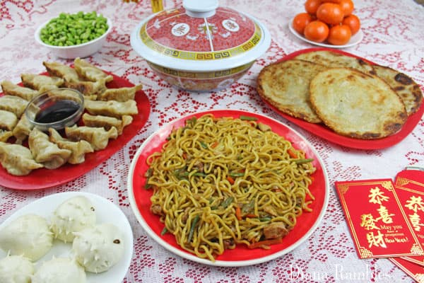 yummy Asian noodles, dumplings, and sesame pancakes