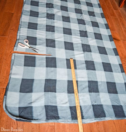 Cutting a queen-size fleece throw to create a dog snuggie