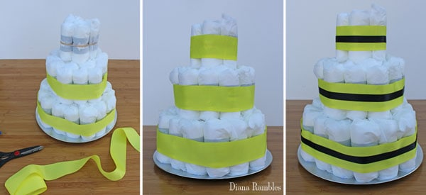 decorate the outside of the diaper cake