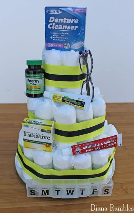 add decorations to the Adult Diaper Cake