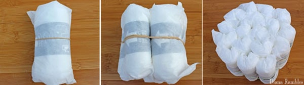 roll up diapers to form a tier of a diaper cake