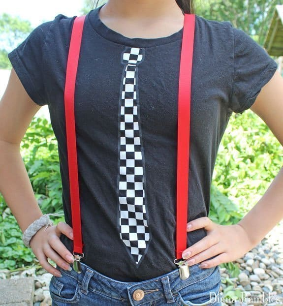 red custom suspenders on a girl