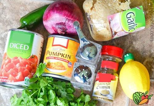 ingredients to make pumpkin salsa