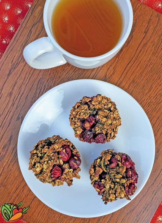 plate of muffins and mug of tea
