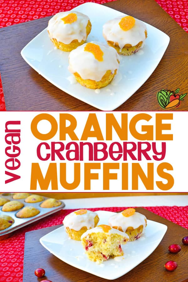 collage of 2 photos of orange muffins with text