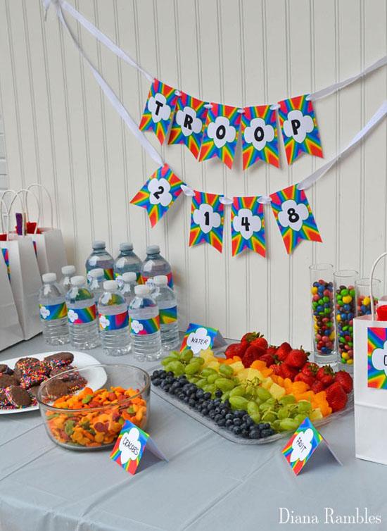 rainbow party food displayed