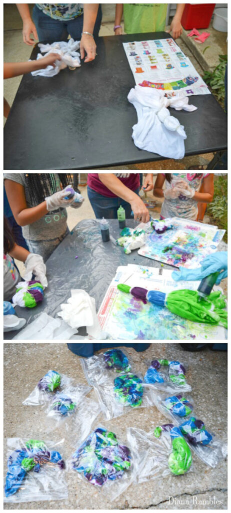 collage of directions for a tie-dye party