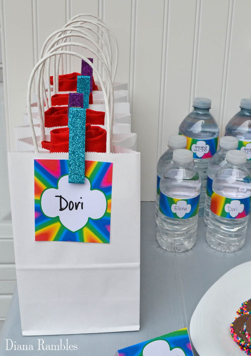 party gift bags with colorful tags