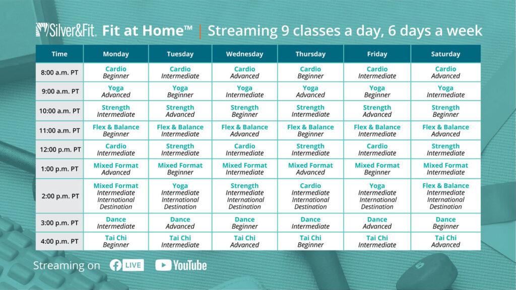 online exercise class schedule