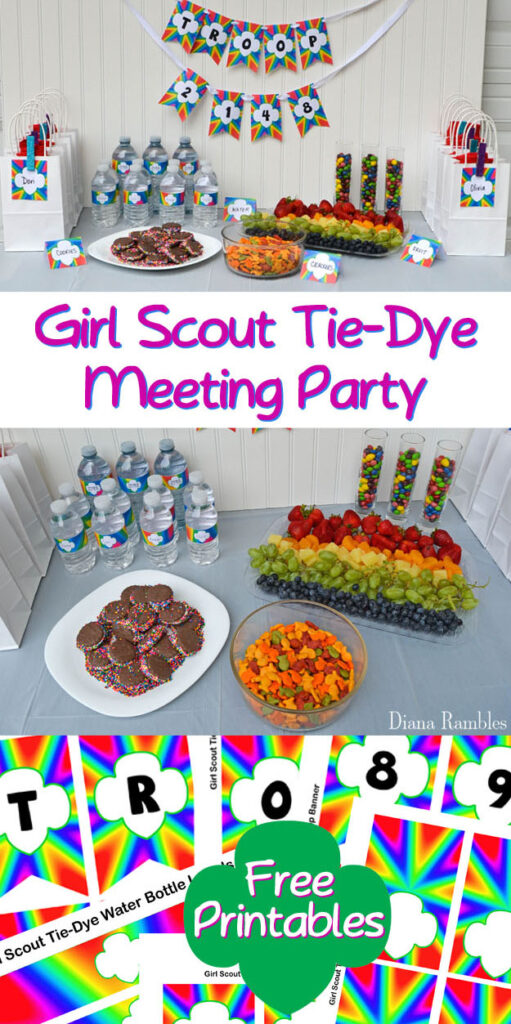 collage of this Tie-Dye Girl Scout Party post