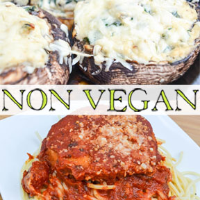 close up of 2 non-vegan recipes from Diana Rambles