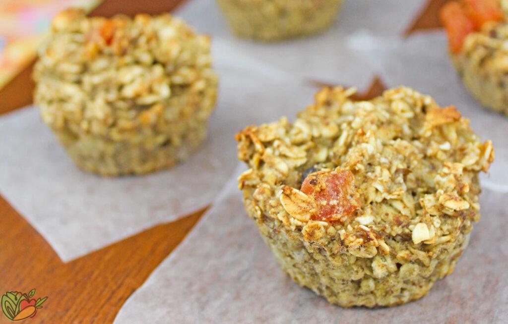 close up of a few vegan tropical muffins
