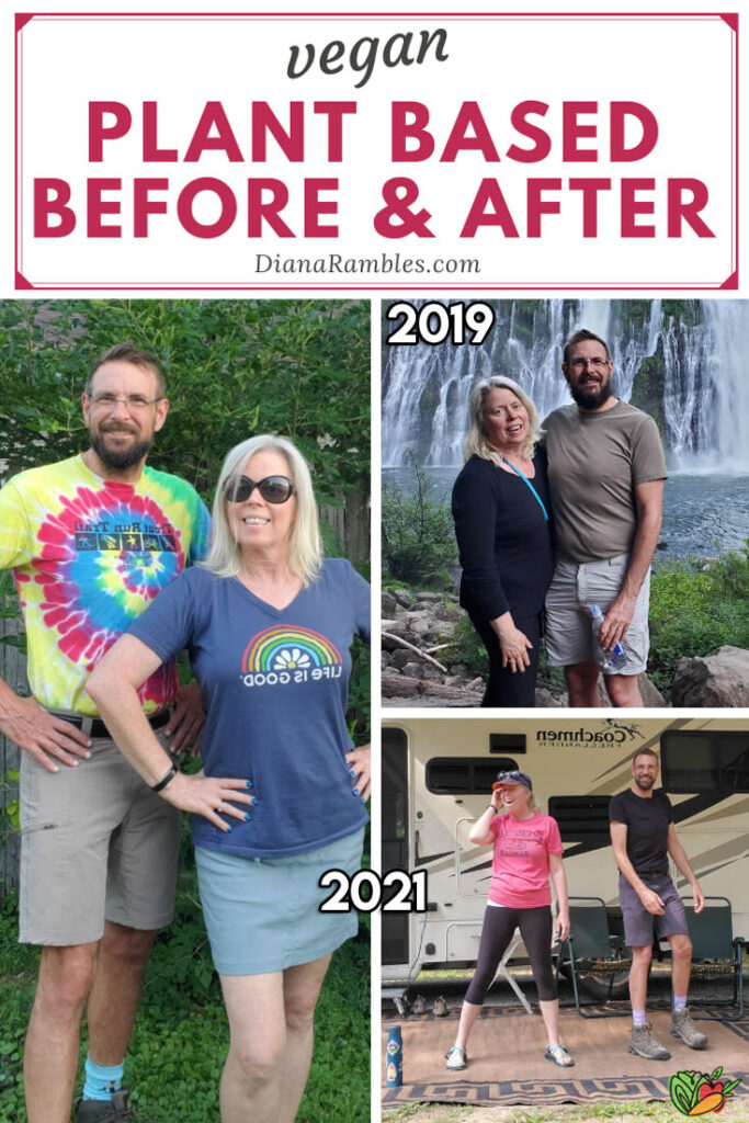collage of before and after photos of a vegan couple
