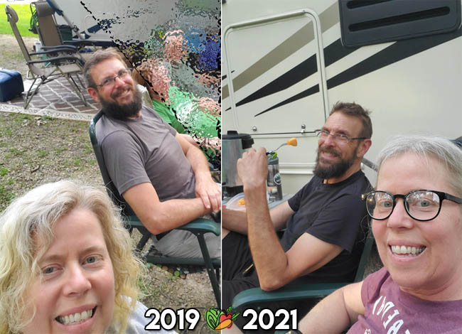 vegan before and after comparison of a camping couple