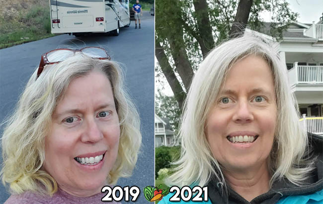 before and after comparison of a woman on a whole food plant based diet